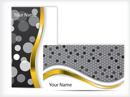 Black and white business card with golden wave