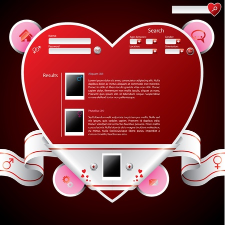 Ribbon wrapped heart shape website template design