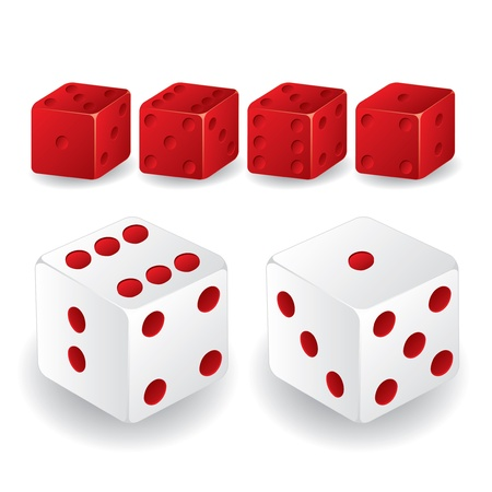Red and white dice set with different standings