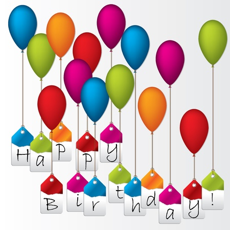Happy birthday label set hanging on color balloons