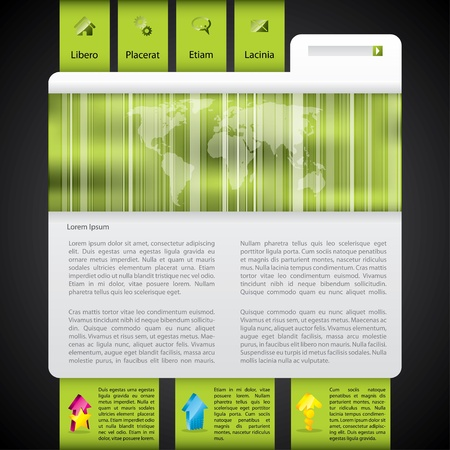 Website template design in green with striped world map