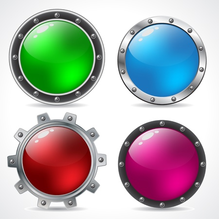 Cool new technology button design set with shadows