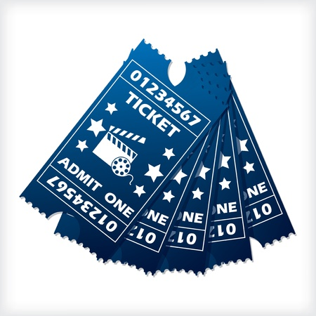 Five blue ticket set spreaded on white background