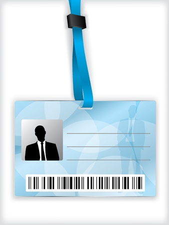 Illustration pour Blue business identification with barcode and lanyard - image libre de droit
