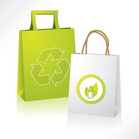 Illustration pour Eco friendly paperbag with bio medical paperbag - image libre de droit