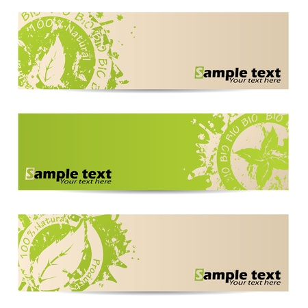 Bio banner set with leaf seal design