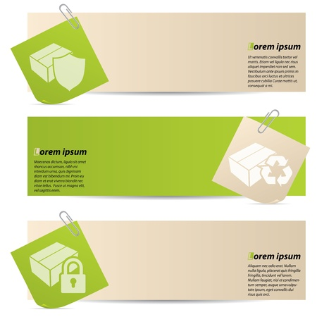 Banners with attached notepapers on white background