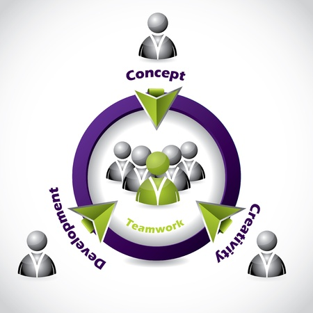 Social network icon design showing teamwork idea