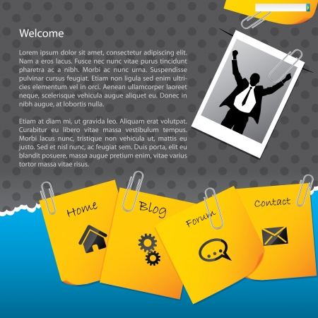 Bussines website template design with paper clipped notepapers and photo