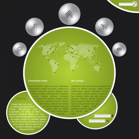 Cool website template with metallic buttons and world map