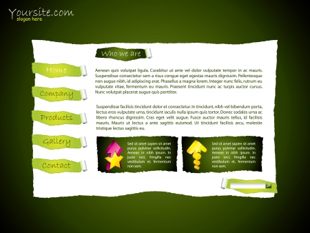Torn website template design in green and white