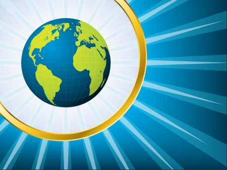 Shining globe in golden ring and bursting blue background