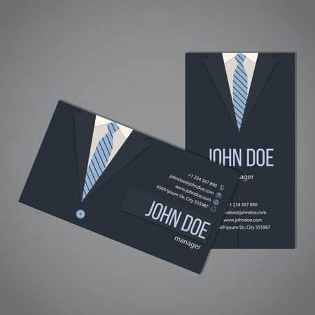 Business suit business card template design in dark and light blue color