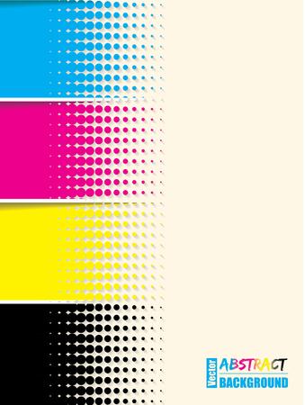 Ilustración de Abstract cmyk halftone background template with sample text - Imagen libre de derechos
