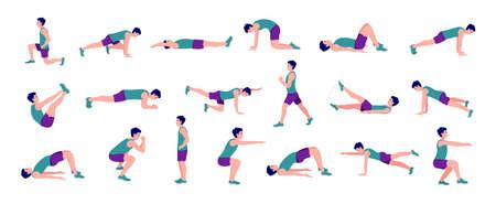 Illustration pour Workout men set. Men doing fitness and yoga exercises. Lunges, Pushups, Squats, Dumbbell rows, Burpees, Side planks, Situps, Glute bridge, Leg Raise,  Russian Twist, Side Crunch, Mountain Climbers.etc - image libre de droit
