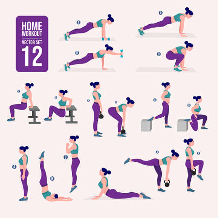 Illustration for Workout women set. Women fitness and yoga exercises. Lunges, Pushups, Squats, Dumbbell rows, Burpees, Side planks, Situps, Glute bridge, Leg Raise, Russian Twist, Side Crunch, Mountain Climbers.etc - Royalty Free Image