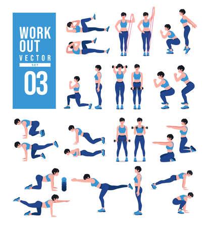Ilustración de Women Workout Set. Women doing fitness and yoga exercises. Lunges, Pushups, Squats, Dumbbell rows, Burpees, Side planks, Situps, Glute bridge, Leg Raise, Russian Twist, Side Crunch .etc - Imagen libre de derechos