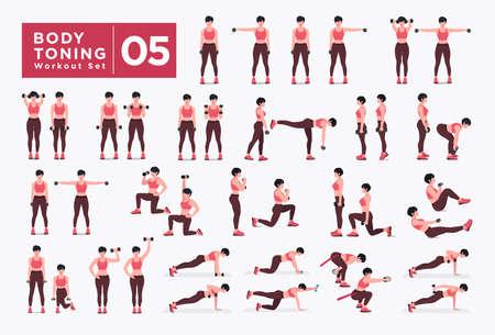 Ilustración de Women Workout Set. Women doing fitness and yoga exercises. Lunges, Pushups, Squats, Dumbbell rows, Burpees, Side planks, Situ ps, Glute bridge, Leg Raise, Russian Twist, Side Crunch .etc - Imagen libre de derechos