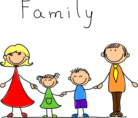 Illustration for happy family holding hands and smiling  - Royalty Free Image