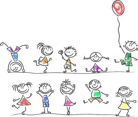 Illustration pour Cute happy kids - image libre de droit