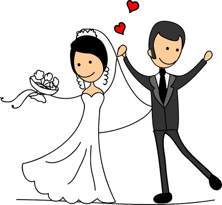 Illustration pour Sweethearts and happy bride and groom - image libre de droit