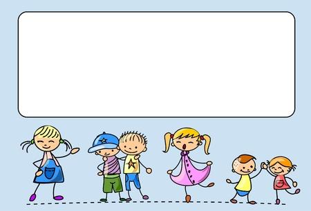 Happy kids dance, sing, jump, run