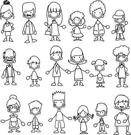 Foto de Doodle members of large families - Imagen libre de derechos