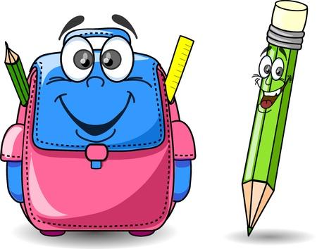 Cartoon school bag and pencil
