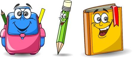 Cartoon school bag, book and pencil