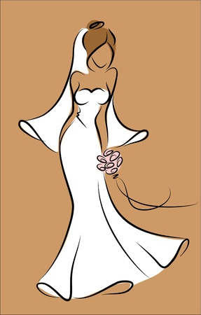 Silhouette of a bride in a wedding dress