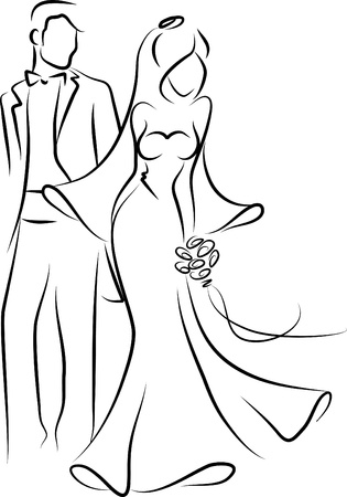 Silhouette of bride and groom, backgroundのイラスト素材