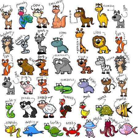 Photo for Big set of cartoon animals  - Royalty Free Image