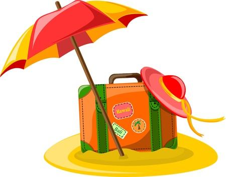 Illustration for Travel background, umbrella, hat and suitcase  - Royalty Free Image