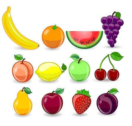 Cartoon orange, banana, apples, strawberry