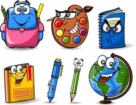 Illustration pour Cartoon school bags, pencils, books, notebooks - image libre de droit