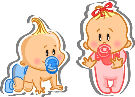 Illustration for Illustration of baby boy and baby girl  - Royalty Free Image