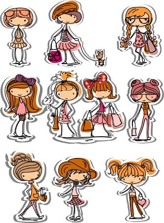 Ilustración de Cartoon fashionable girls - Imagen libre de derechos