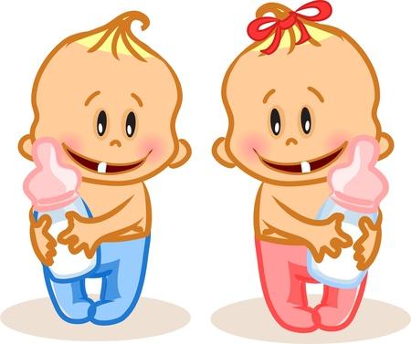 Ilustración de Vector illustration of baby boy and baby girl  - Imagen libre de derechos