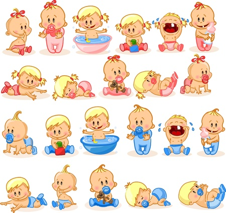 Illustration for illustration of baby boys and baby girls  - Royalty Free Image