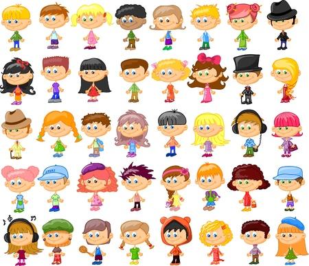Set of cartoon cute children