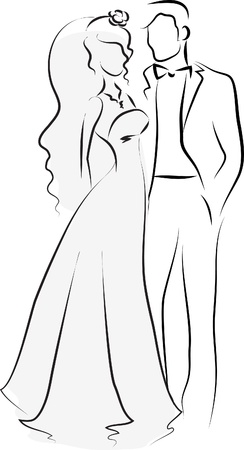 Illustration pour Silhouette of bride and groom, background - image libre de droit