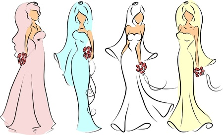 Silhouette of brides for wedding invitation