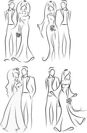 Illustration pour Silhouette of bride and groom, background - image libre de droit