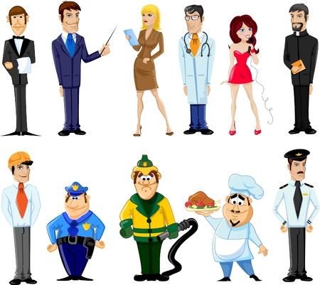 Illustration pour Cartoon characters manager, chef,policeman - image libre de droit