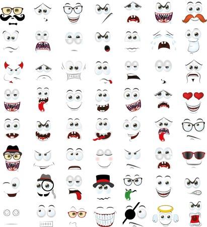 Illustration pour Set of cartoon faces with different emotions - image libre de droit