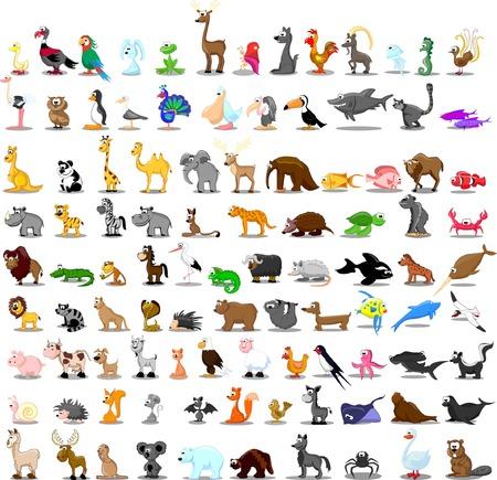 Illustration pour 100 Set of cute cartoon animals - image libre de droit