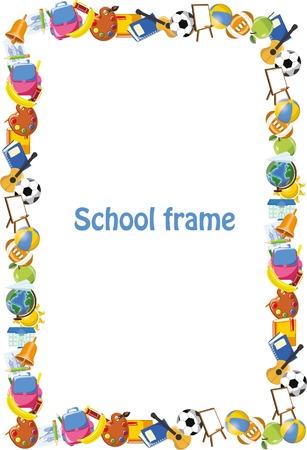 Cartoon students and school stuffs, banner frame