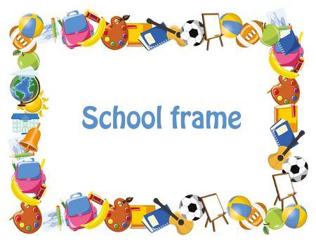 Illustration pour Cartoon students and school stuffs, banner frame - image libre de droit