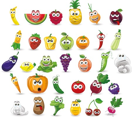 Photo for Cartoon vegetables and fruits - Royalty Free Image