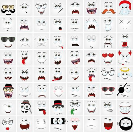 Illustration for Set of cartoon faces with different emotions - Royalty Free Image